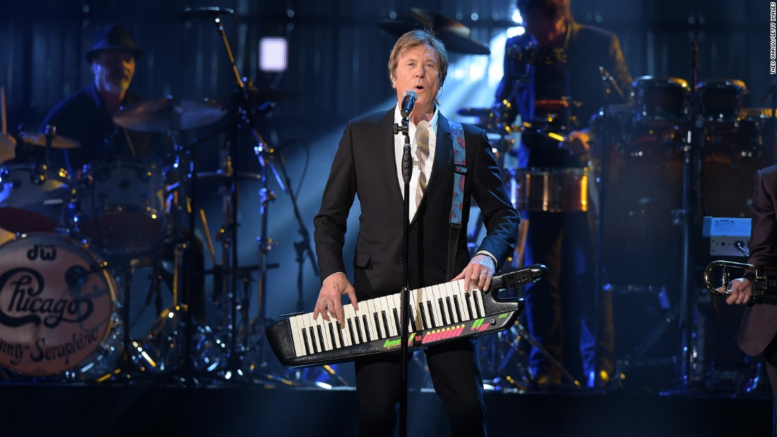 "Inductee Robert Lamm of Chicago performs. With jazz horns, the Chicago Transit Authority blasted wide-eyed, breezy reality right into it, and in its lyrics took vivid sun-drenched strolls like in ""Saturday in the Park."""
