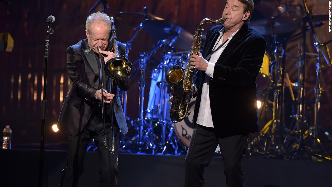 Inductees Walter Parazaider and Lee Loughnane of Chicago perform. An act has to be in business for at least 25 years after the release of its first album to be nominated.