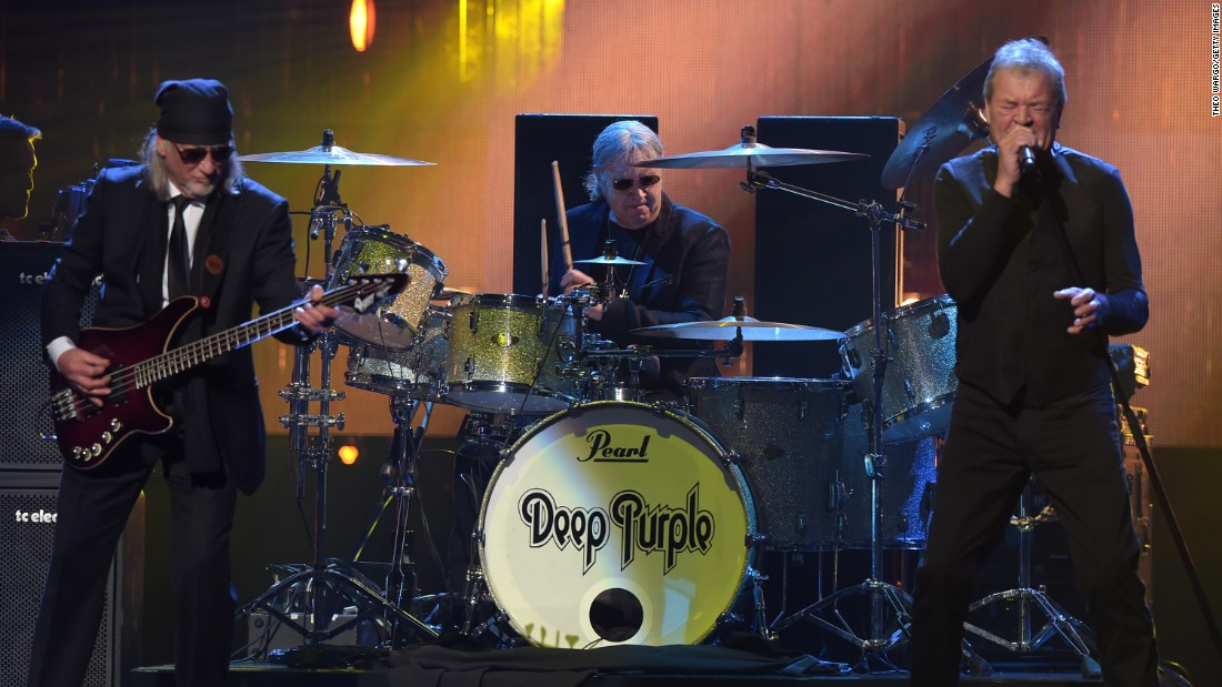 "Inductees Roger Glover, Ian Paice, and Ian Gillan of Deep Purple perform. ""Led Zeppelin, Black Sabbath and Deep Purple. They are the Holy Trinity of hard rock and metal bands,"" said the Rock and Roll Hall of Fame."