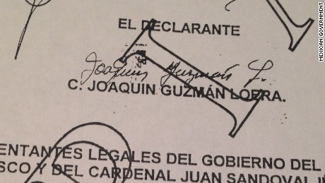 El Chapo's signature can be seen on the deposition