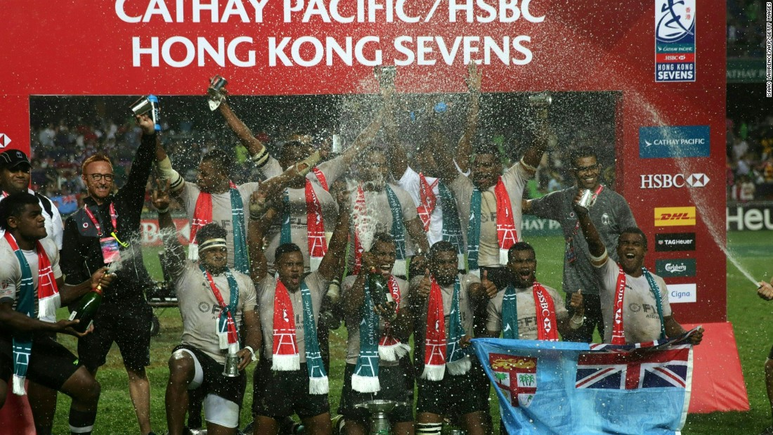 Fiji players celebrate after retaining the Hong Kong Sevens title with a convincing 21-7 victory over New Zealand in the final.