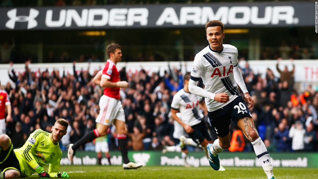 Dele Alli wheels away after scoring Tottenham's opener in the 3-0 win over Manchester United.