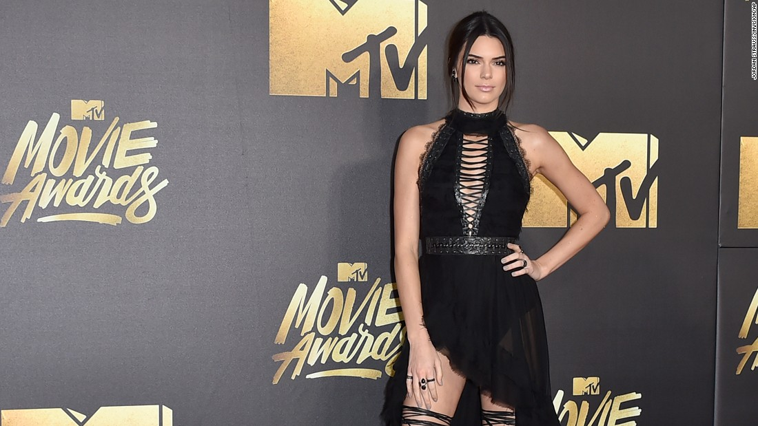 Kendall Jenner arrives at the MTV Movie Awards at Warner Bros. Studios on Saturday, April 9, in Burbank, California. The show was taped Saturday but aired on Sunday, April 10.