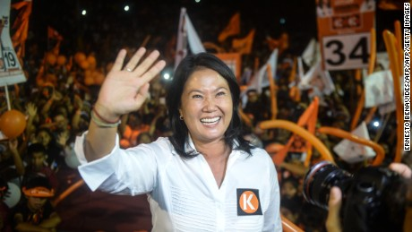 Keiko Fujimori, daughter of imprisoned former president (1990-2000) Alberto Fujimori and leader and presidential candidate for the Fuerza Popular party, participates in a rally in Lima on March 31, 2016, weeks ahead of the presidential elections of April 10th. Fujimori leads the  polls with more than 30 percent.  / AFP / ERNESTO BENAVIDES        (Photo credit should read ERNESTO BENAVIDES/AFP/Getty Images)
