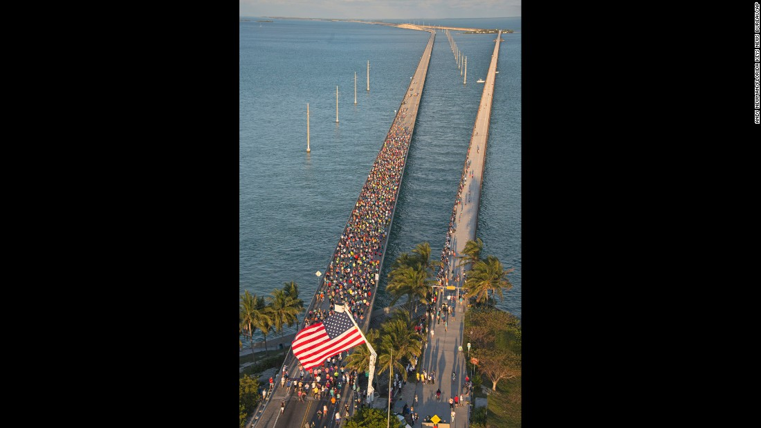 Runners in the Florida Keys begin the Seven Mile Bridge Run on Saturday, April 9.