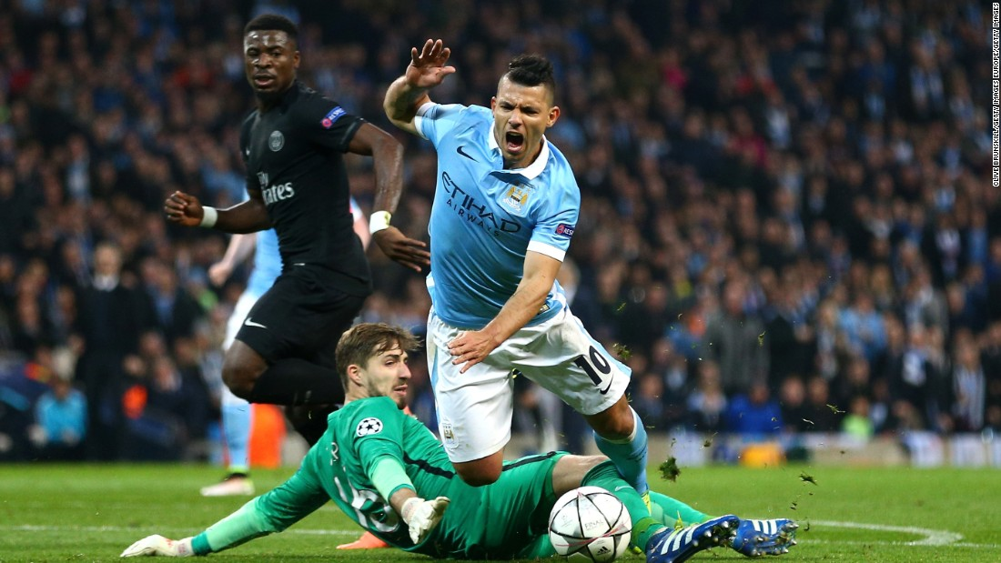 Manchester City was locked at 2-2 with Paris St. Germain after the first leg, but Sergio Aguero won a penalty when he was brought down in the area.