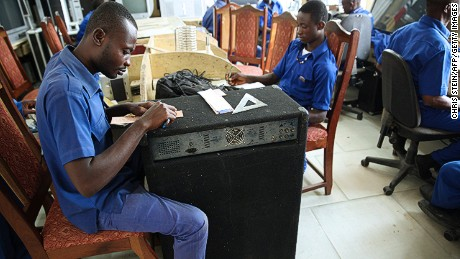 Apprentices work at the Apostle Safo Technology Research Center in Gomoa Mpota, Ghana.