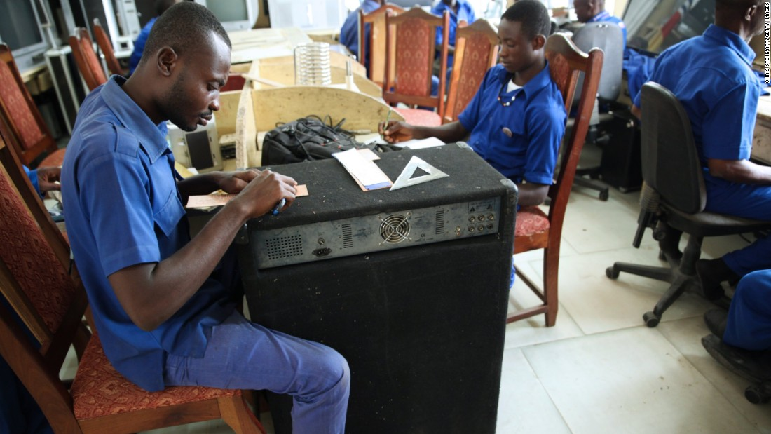 Apprentices work at the Apostle Safo Technology Research Center in Gomoa Mpota, Ghana, where everything from TVs, cars and even robots are made using local materials.