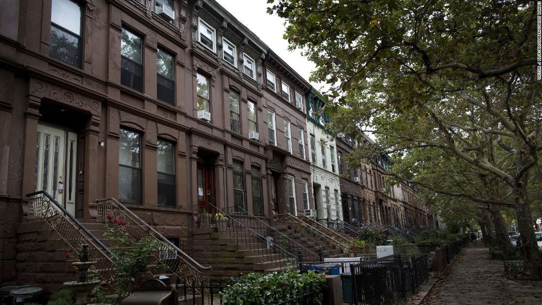 Brownstone buildings line a street of the Bedford-Stuyvesant neighborhood in Brooklyn. The area's homes have grown in value as the borough has become more attractive to buyers and renters.