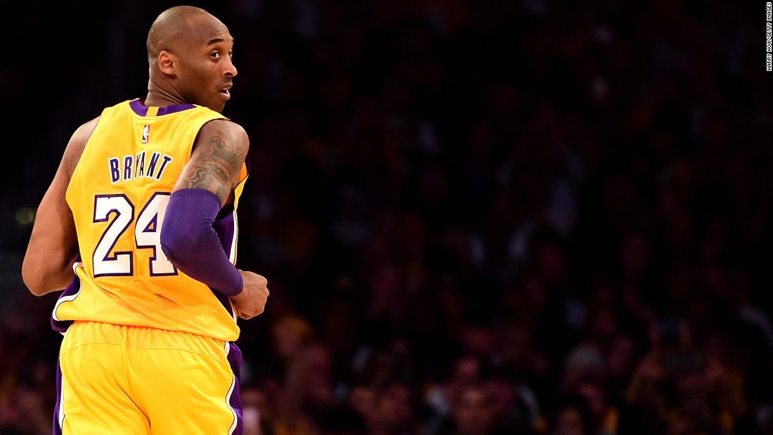 Kobe Bryant ended his 20-year career in the NBA on April 13. Here, the Los Angeles Lakers player looks back while taking on the Utah Jazz during his final game.