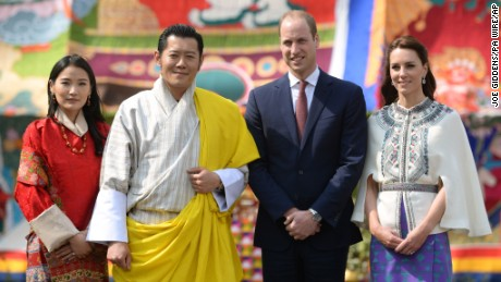 The Duke and Duchess of Cambridge with King Jigme Khesar Namgyel Wangchuck and Queen Jetsun Pema of Bhutan at Tashichho Dzong in Thimphu, Bhutan on Thursday April 14.