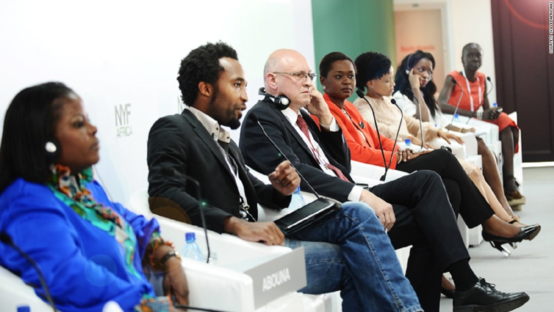 "Bussard, pictured center at the New York Forum Africa, has big ambitions for the training platform. ""When we get to 5 million users, we want to work with the U.N. and the World Bank on projects that deal with unemployment issues,"" he said."