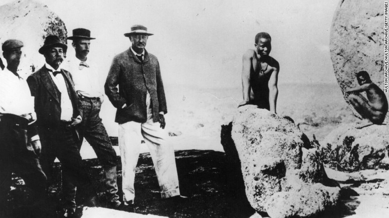 British businessman Cecil Rhodes (center) founded the De Beers diamond company in South Africa, implicated in colonial atrocities.