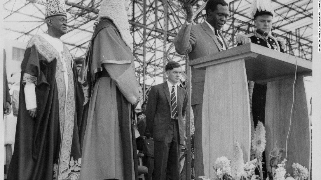 Ugandan Prime Minster Apolo Milton Obote, speaking on stage following the declaration of Ugandan independence, Uganda, September 10th 1962. <br /><br />Burgis argues that the exploitation of colonialism continued after independence in many African states, as new ruling elites used natural resources to enhance their wealth and power at the expense of their public.