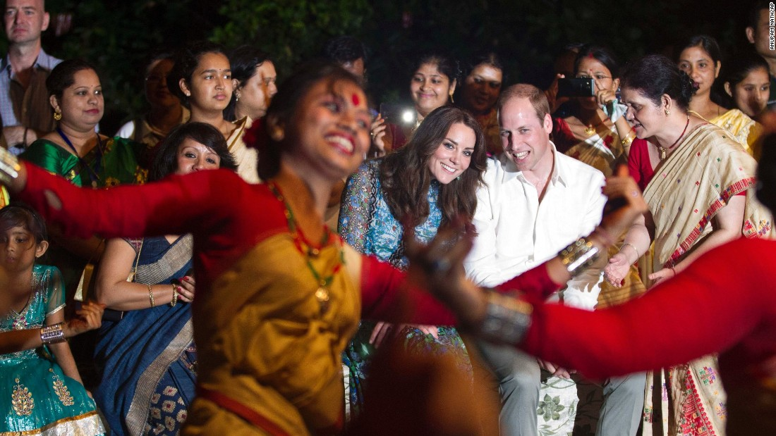 William and Catherine watch Assamese traditional dancers perform at the park on Tuesday,  April 12.