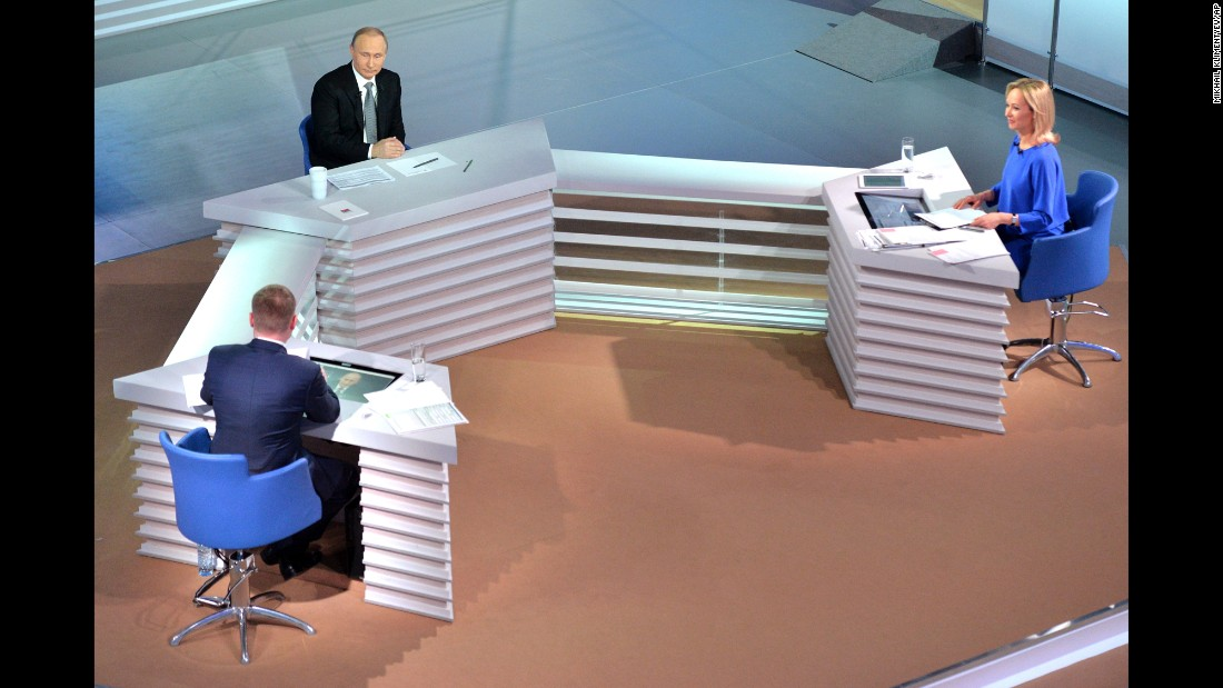 "Russian President Vladimir Putin, top left, takes citizens' questions during <a href=""http://www.cnn.com/2016/04/14/europe/putin-question-session/"" target=""_blank"">his annual question-and-answer session</a> on Thursday, April 14. The televised event in Moscow lasted three and a half hours, and Putin addressed a variety of topics, including the Panama Papers, Syria, U.S. President Barack Obama and doping in sports."