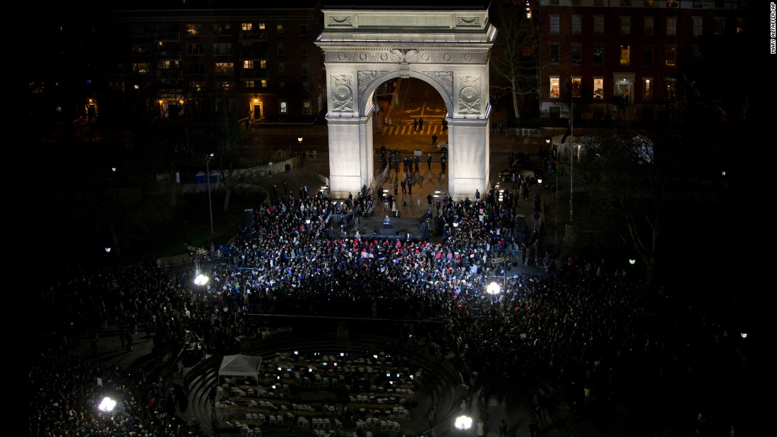 U.S. Sen. Bernie Sanders, who is seeking the Democratic Party's presidential nomination, speaks during a campaign rally in New York's Washington Square on Wednesday, April 13.