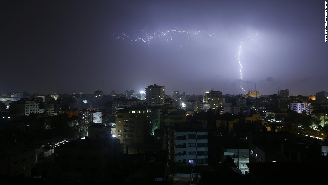 Lightning is seen over Gaza City during a late-night storm on Sunday, April 10.