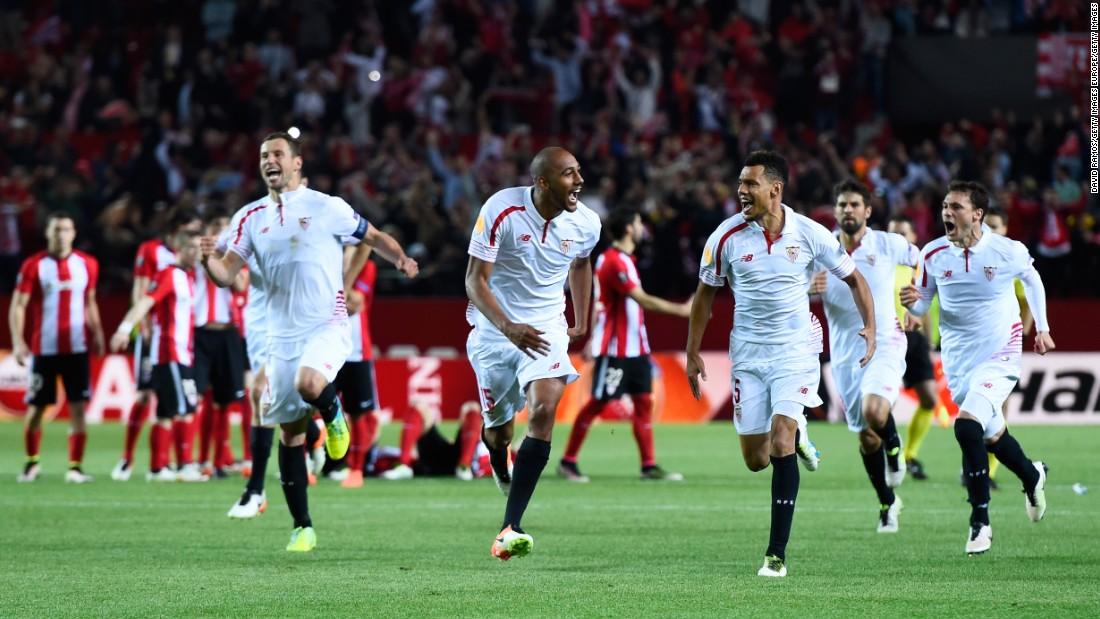 <strong>Never gets old: </strong>Sevilla players celebrate victory after a penalty shootout during the Europa League quarterfinal, second leg tie against Athletic Bilbao on April 14, 2016 in Seville, Spain.