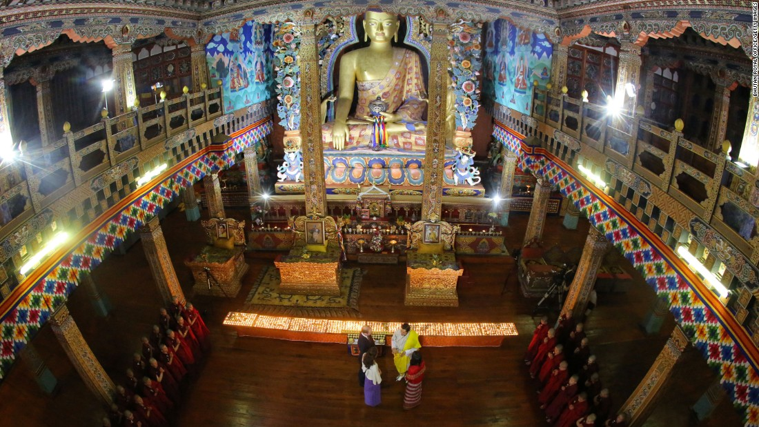 The royal couples visit the Golden Throne Room of the Thimphu Dzong on April 14.