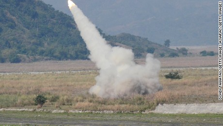 A HIMARS (High Mobility Advanced Rocket System) fires at a target during the annual joint military exercises.