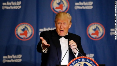 Republican presidential candidate Donald Trump speaks the 2016 annual New York State Republican Gala on April 14, 2016 in New York City.