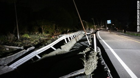 A road damaged by the 7.0 magnitude earthquake is seen on April 16, 2016 in Mashiki, Kumamoto, Japan.