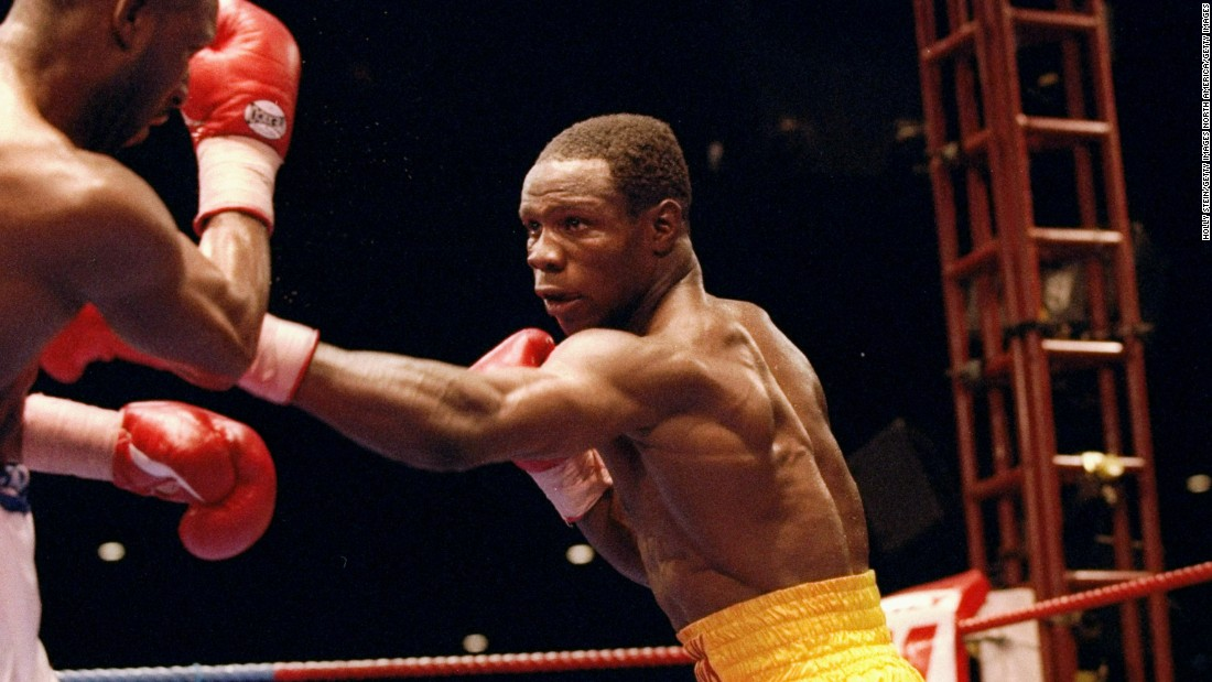 Here, Chris Eubank Sr. is pictured fighting his great rival, Nigel Benn, in 1993.<br />