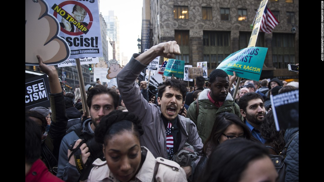 "People protest outside a Republican Party gala in New York on Thursday, April 14. The GOP's three presidential candidates <a href=""http://www.cnn.com/2016/04/15/politics/donald-trump-gop-gala-new-york-values/"" target=""_blank"">attended the gala.</a>"