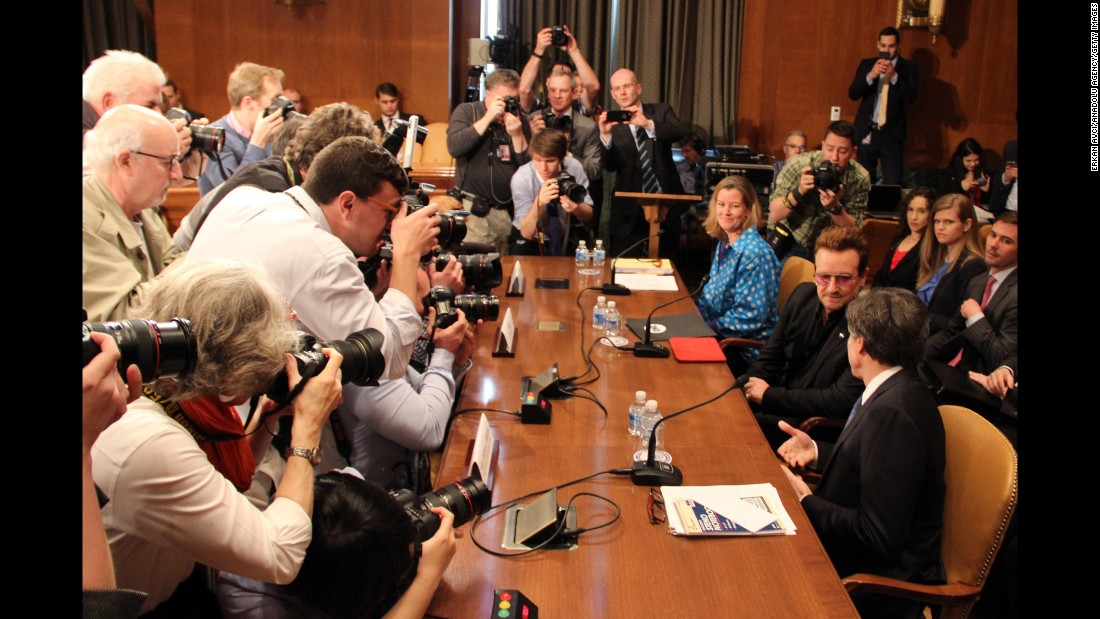 U2 frontman Bono is photographed at a Senate subcommittee in Washington on Tuesday, April 12. The singer urged officials to provide more aid to refugees, saying it would help in the fight against violent extremism.