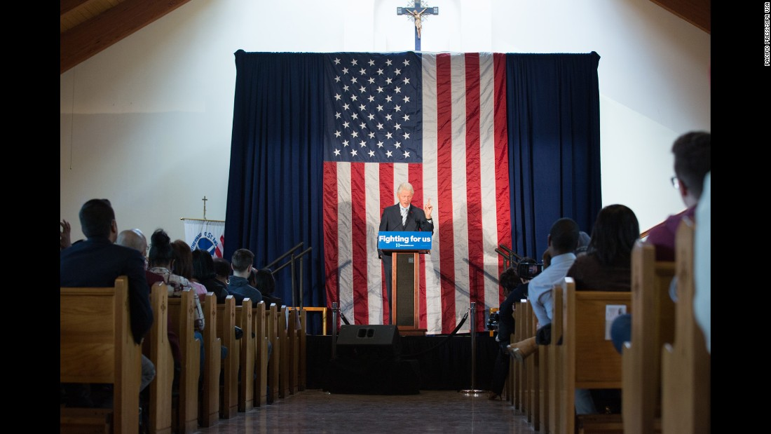 Former U.S. President Bill Clinton speaks at a campaign rally for his wife in New York on Monday, April 11.