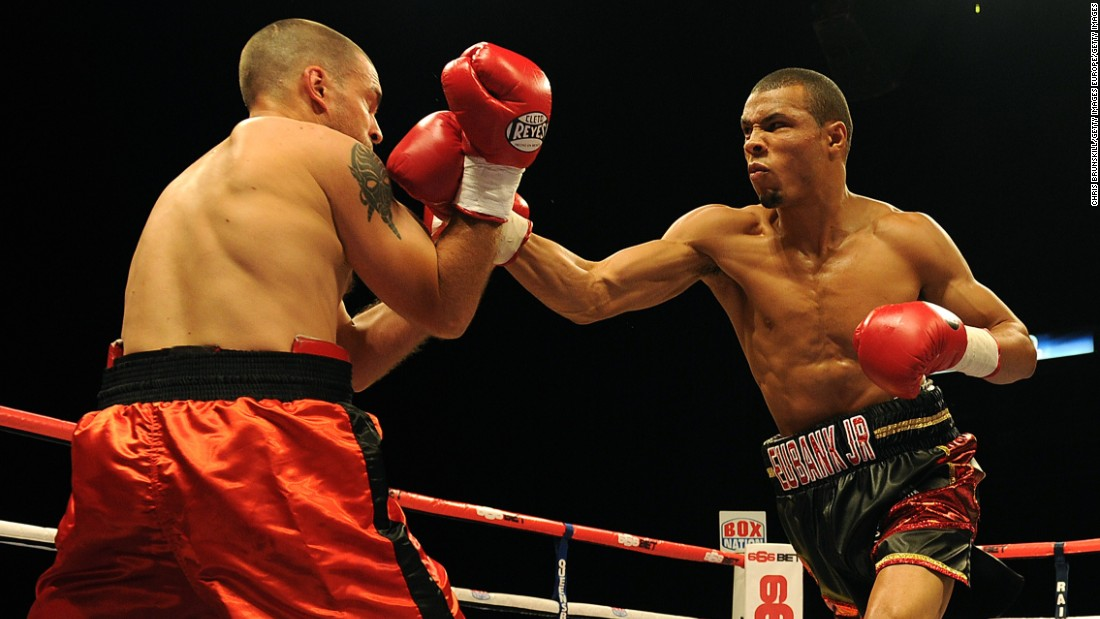 """I feel it was a one-sided fight,"" Eubank Jr said of Blackwell. ""I won pretty much every round. <br />""But at the same time, the true grit and determination Nick showed on the night made it an amazing event. To see someone who wasn't winning, but who wouldn't give up -- that's what boxing's all about.""<br />Eubank Jr. is pictured right fighting Ivan Jukic of Croatia in 2014."