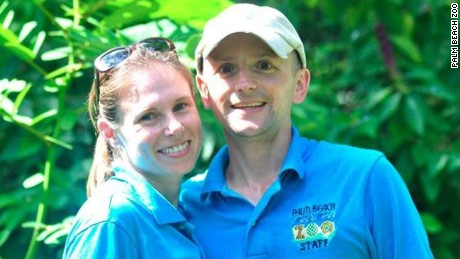Stacey Konwiser (left) an employee at the Palm Beach Zoo was killed by a male Malayan tiger on Friday afternoon, zoo spokesperson Naki Carter tells CNN. Konwiserís husband Jeremy (right) is also a trainer at the zoo and her family has been notified.  Stacey graduated from Mount Holyoke College with a Bachelor's degree in Biology and received her Masters degree in Conservation Biology from the University of Queensland in Australia, according to the Palm Beach Zoo's official Facebook page.