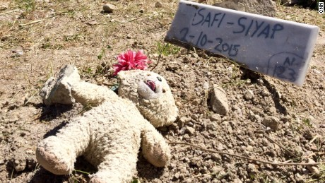 The grave of 1-year-old Safi Siyap, who drowned while the coast guard attempted to rescue her family.