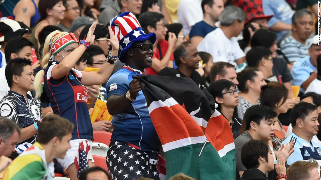 Fans attend the Singapore Sevens rugby tournament on April 17, 2016.