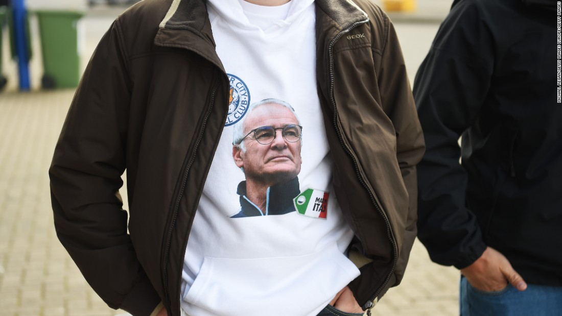 A spectator wears t-shirt with a picture of Leicester manager Claudio Ranieri before th Premier League match between Leicester City and West Ham United at The King Power Stadium.