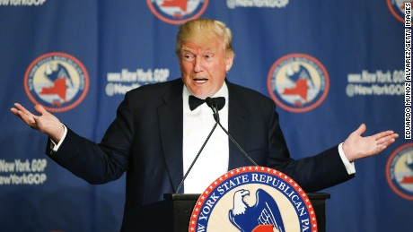 Republican presidential candidate Donald Trump speaks during the 2016 annual New York State Republican Gala on April 14, 2016 in New York City. Donald Trump, Senator Ted Cruz of Texas and Gov. John R. Kasich of Ohio take part in a fund-raiser for the state Republican Party, being the first time they are seen together since they decided to abandon the so-called loyalty pledge they signed last year to support whoever becomes the party nominee. (Photo by Eduardo Munoz Alvarez/Getty Images)