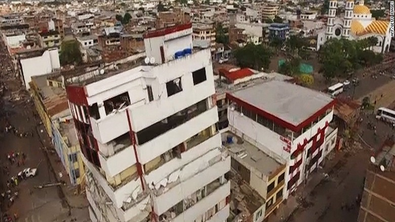 Drone footage shows extent of Ecuador earthquake damage
