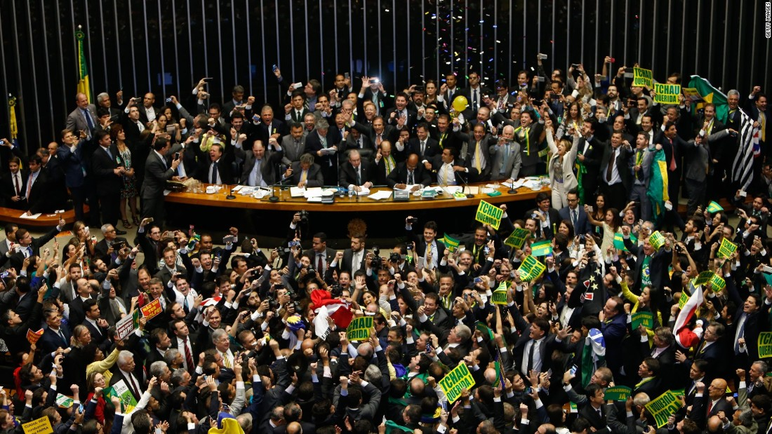 A total of 367 lawmakers in the lower house voted to impeach Rousseff, the country's first female president, by more than the two-thirds majority required by law.