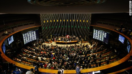 Protests as Brazil Congress votes to impeach President Dilma Rousseff