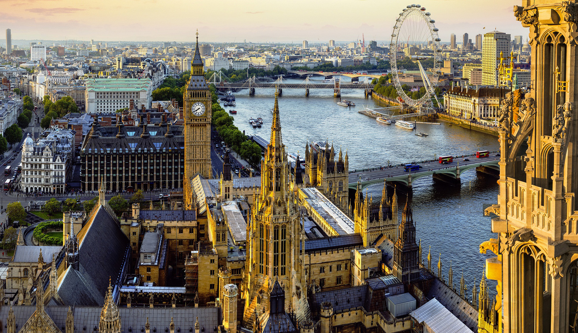Skyline view of London, England featuring attractions like the millenium eye