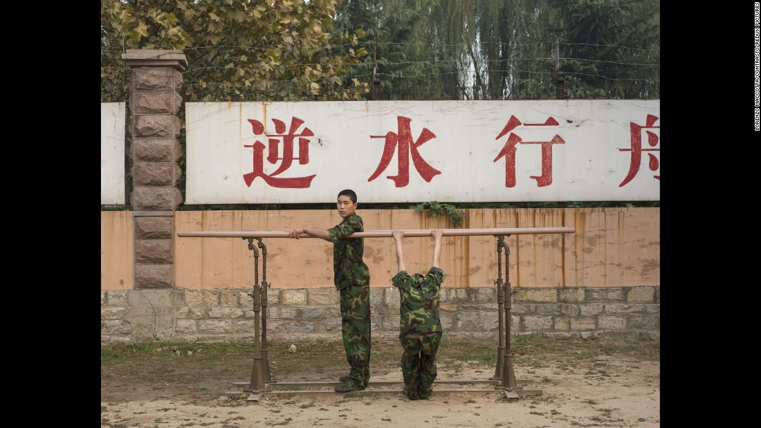 The boy on the left had been living at the boot camp in Jinan for four months when Maccotta visited in October.