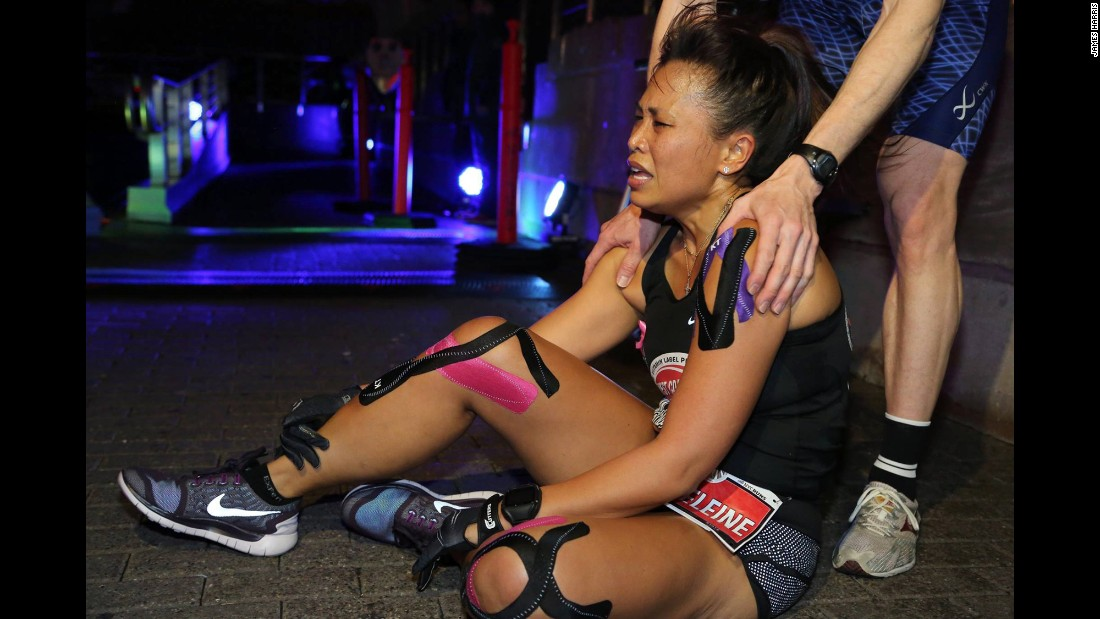 Athletes crawl or limp around at the finish line while their legs slowly regained power.