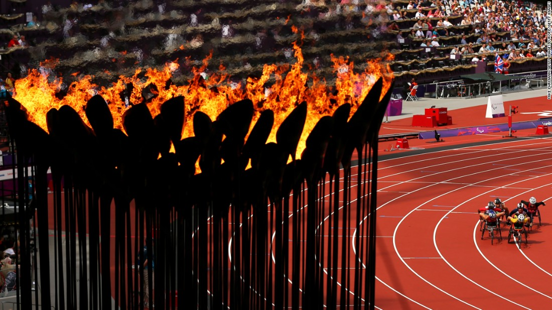 When it eventually reaches Brazil, the flame will burn bright throughout the duration of the Games until it is put out at the closing ceremony. It's seen here in London, where in 2012 it took a more modern look.