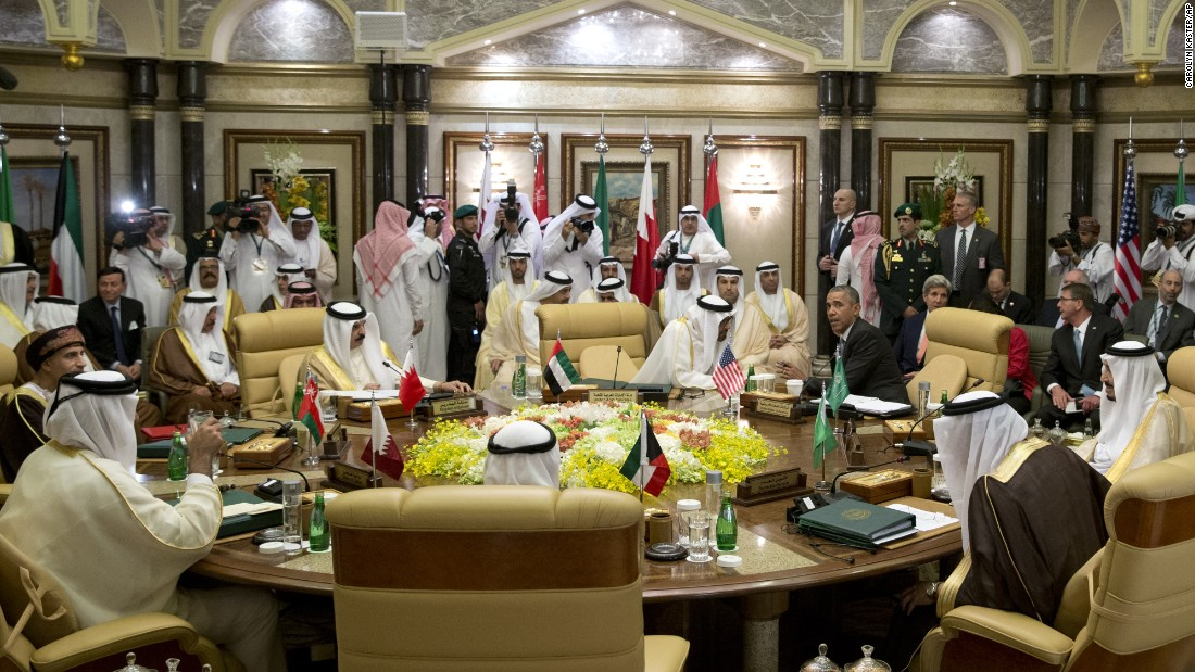 Obama confers with other leaders at the Gulf Cooperation Council summit on April 21.
