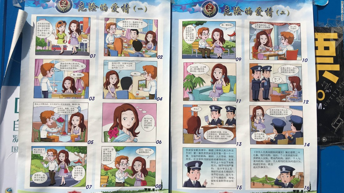 "A 16-panel comic book-style poster that's been widely displayed across Beijing tells the story of an attractive young female civil servant -- Xiao Li or ""Little Li"" --  who is wooed by a red-haired foreigner posing as a visiting scholar -- Dawei, or David. Here's how their story unfolds, according to a translation by <a href=""http://chinalawtranslate.com/nsed/"" target=""_blank"">China Law Translate</a>, checked by CNN."
