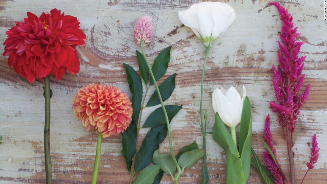 "Song visits local farmer's markets to purchase a variety of flowers, including dahlias, tulips and lisianthus. These came from <a href=""http://www.3porchfarm.com/"" target=""_blank"">3 Porch Farm</a> in Athens, Georgia."