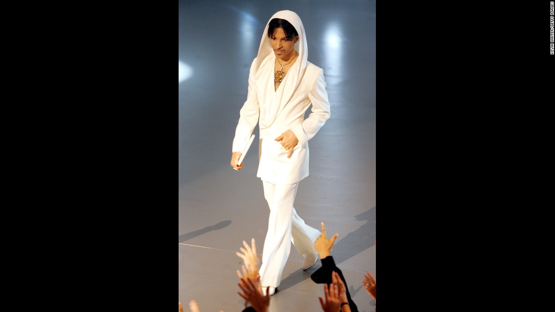 White hot -- Wearing white hood and heels at the People's Choice Awards, 2005.<br />