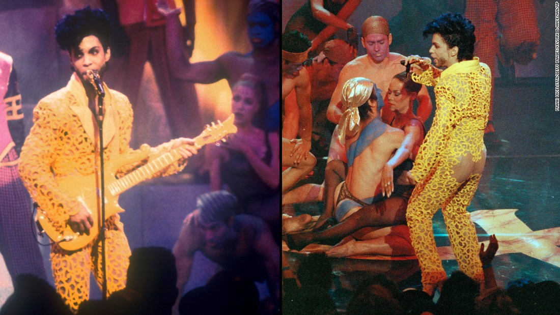 "Showing some skin -- Prince and The New Power Generation perform ""Gett Off"" at the 1991 MTV Video Music Awards in Los Angeles. This revealing yellow jumpsuit was arguably one of his more outrageous outfits.<br />"