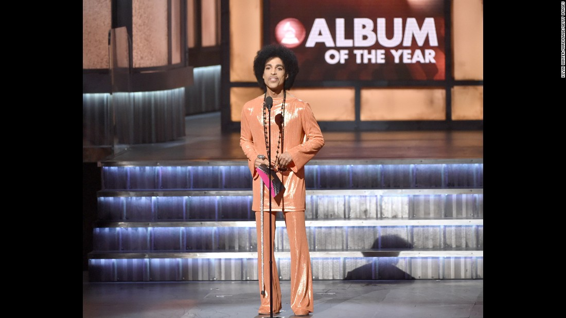 Tangerine dreams - Prince in another monochrome outfit, speaking onstage during The 57th Annual Grammys, February 8, 2015.<br />